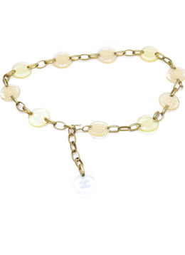 Chanel Yellow Lucite Brass Belt