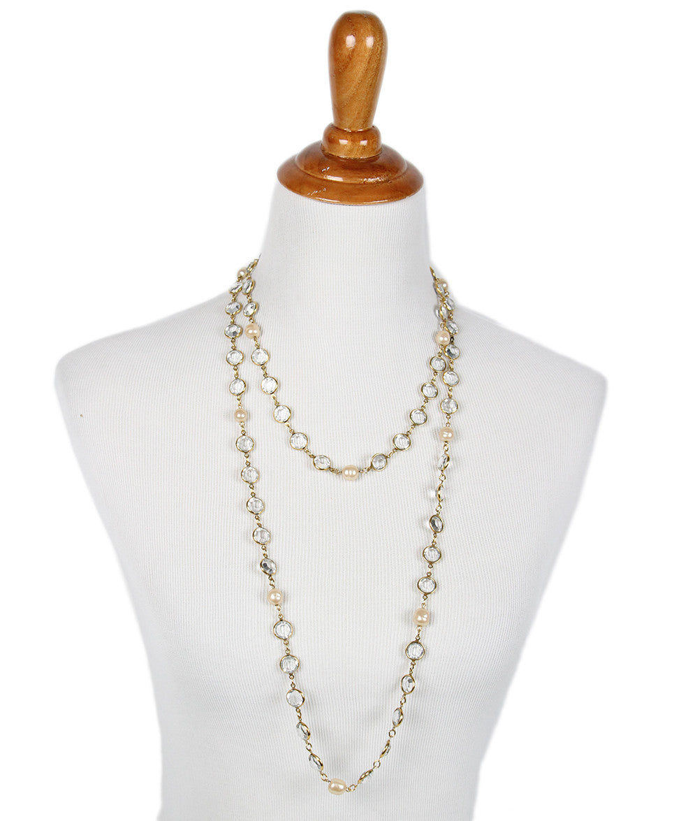 Chanel Yellow Gold Pearl Clear Quartz 1981 Necklace - Michael's Consignment NYC  - 1