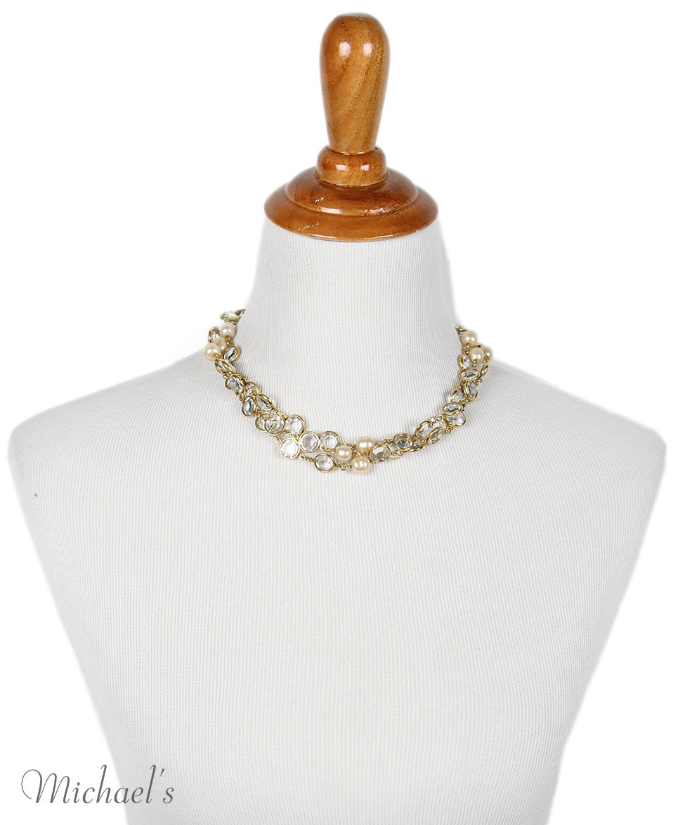 Chanel Yellow Gold Pearl Clear Quartz 1981 Necklace - Michael's Consignment NYC  - 2