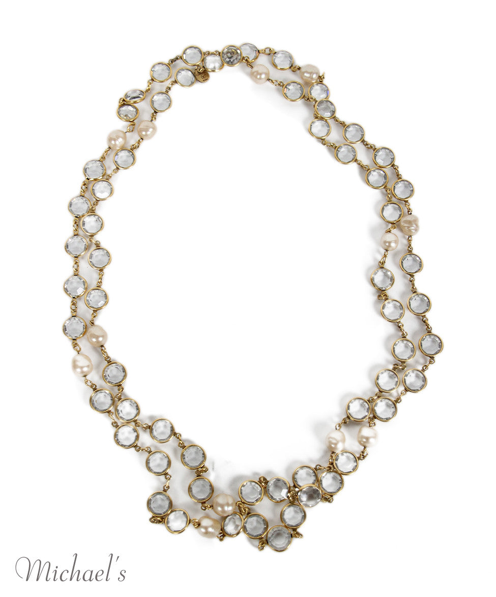 Chanel Yellow Gold Pearl Clear Quartz 1981 Necklace - Michael's Consignment NYC  - 3