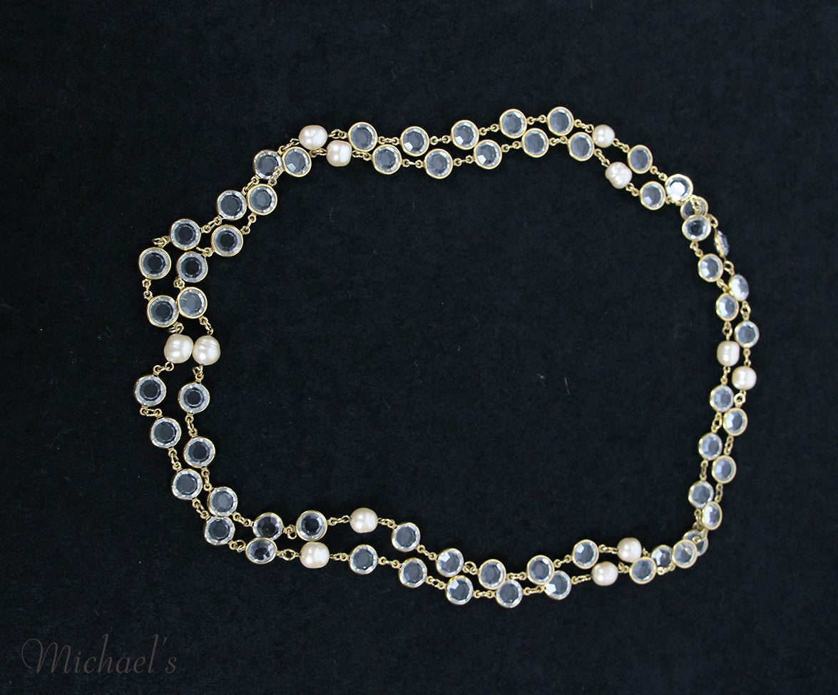 Chanel Yellow Gold Pearl Clear Quartz 1981 Necklace - Michael's Consignment NYC  - 4