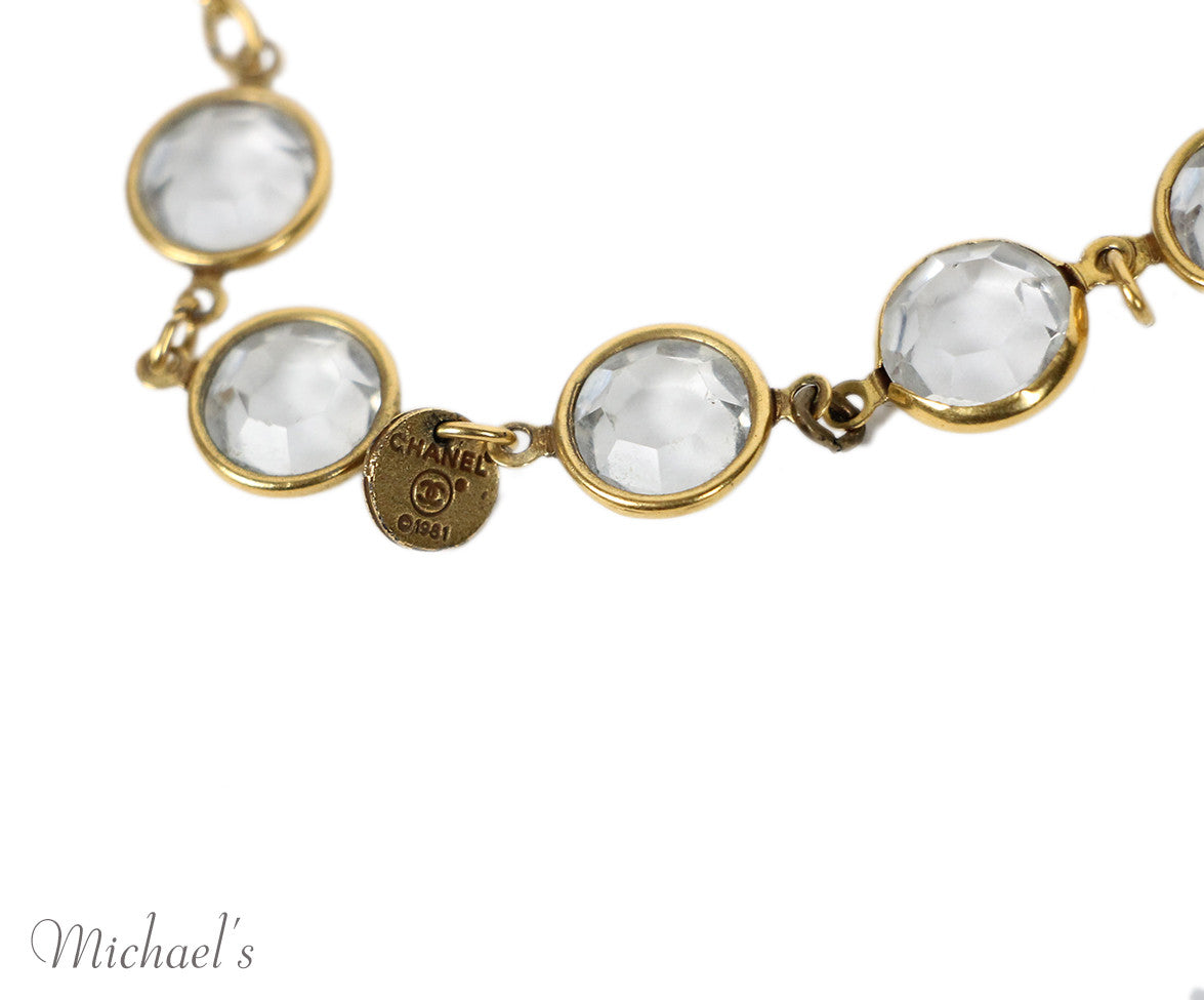 Chanel Yellow Gold Pearl Clear Quartz 1981 Necklace - Michael's Consignment NYC  - 5