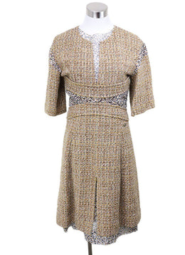 Chanel Mustard Black Tweed Acrylic Wool Dress Sz 4