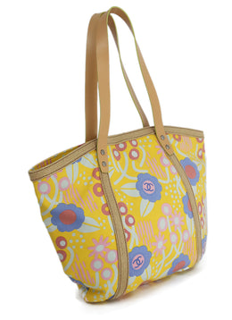 Chanel Vintage Floral Print Yellow Canvas Tote Bag 2