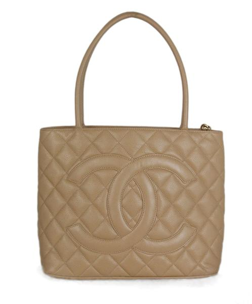 Chanel Neutral Caviar Medallion Tote Handbag