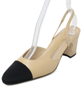 Chanel Neutral Beige Leather Black Grosgrain Trim Shoes