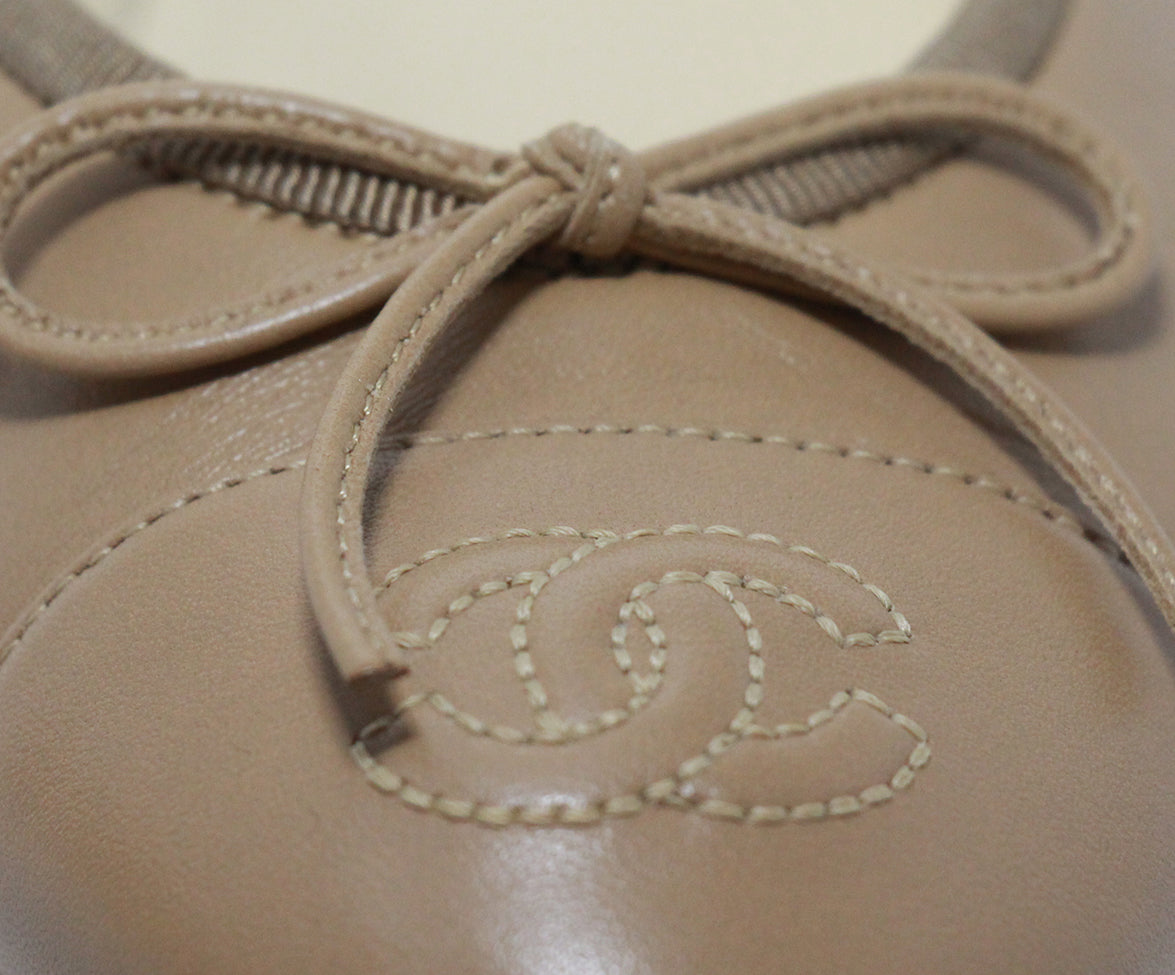 Chanel beige leather flats 8