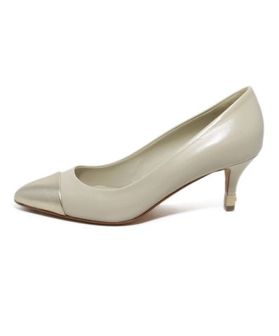 Chanel beige leather gold trim heels 1