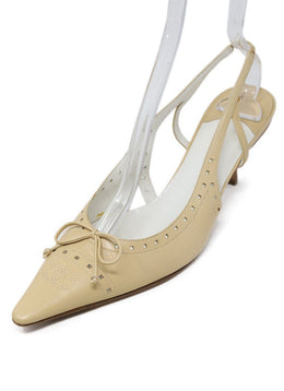 Slingbacks Chanel Shoe Size US 9.5 Neutral Beige Leather Shoes