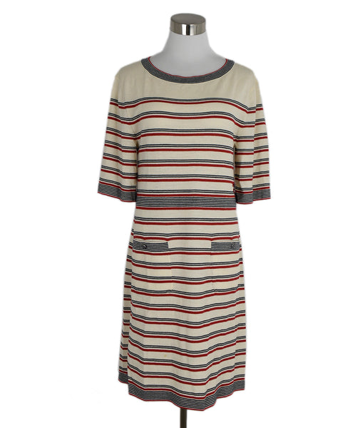 Chanel Beige Red Black Stripes Wool Cotton Dress 1