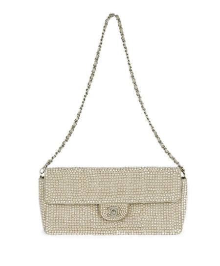 Chanel Metallic Silver Leather Clasp Rhinestone Clutch Handbag