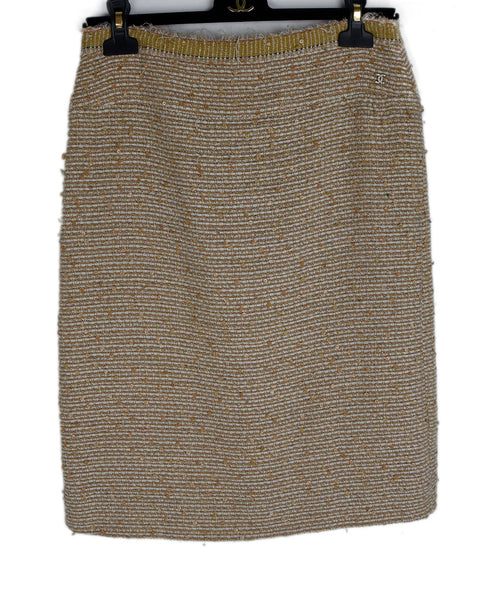 Chanel Beige White Tweed Sequins Skirt 1