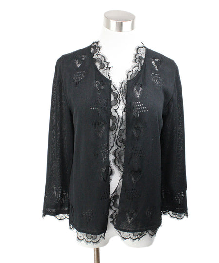 Chanel Black Silk Satin Sweater Sz 2