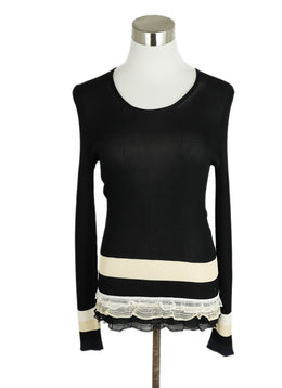 Chanel Black Beige Viscose Lace Sweater 1