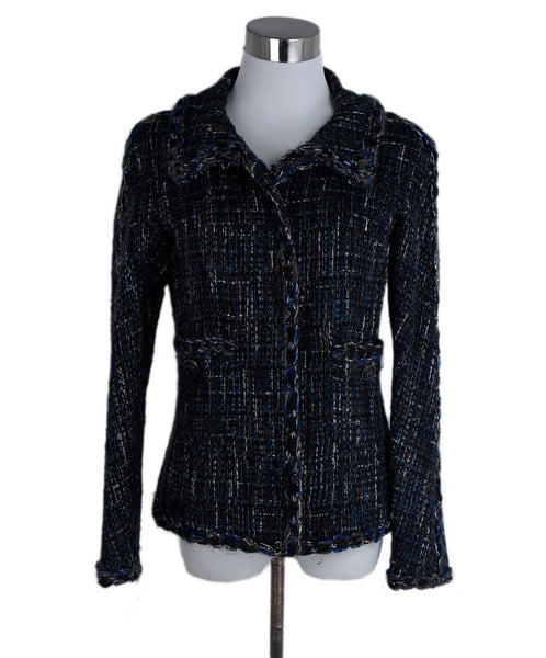 Chanel Black Blue Grey Acrylic Wool Jacket 1