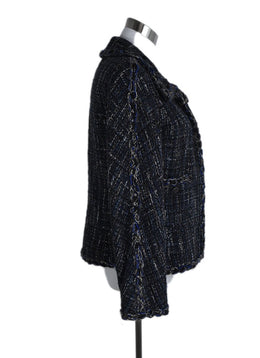 Chanel Black Blue Grey Acrylic Wool Jacket 2
