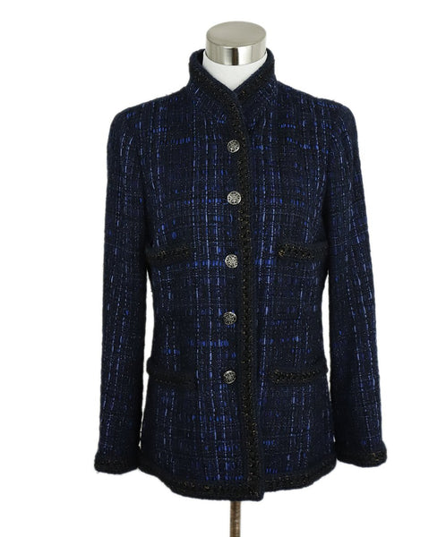 Chanel Black Blue Tweed Lurex Jacket 1