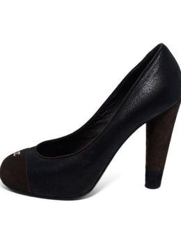 Chanel Black Brown Suede Leather Heels 2