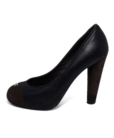 Chanel Black Brown Suede Leather Heels 1
