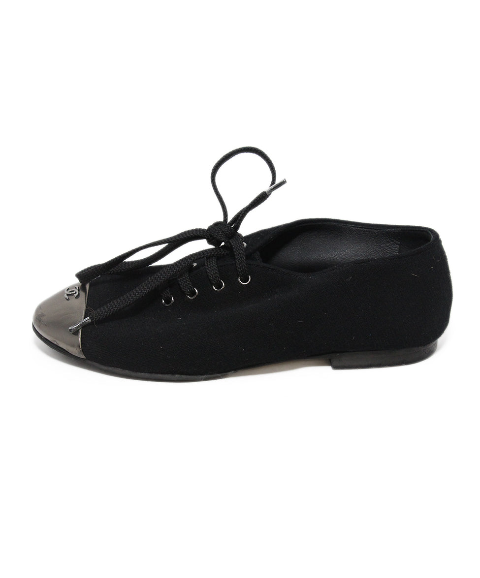 Chanel black canvas metallic trim flats 2