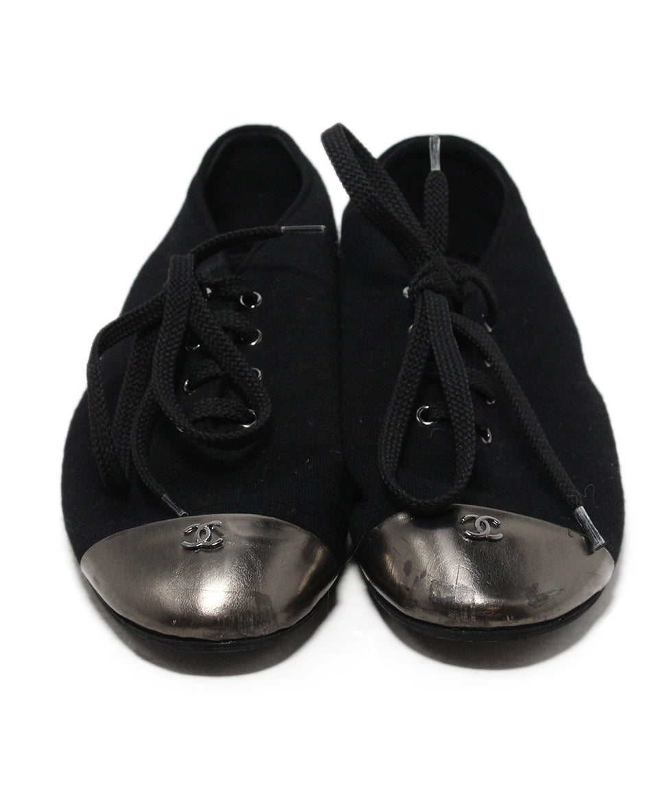 Chanel black canvas metallic trim flats 4