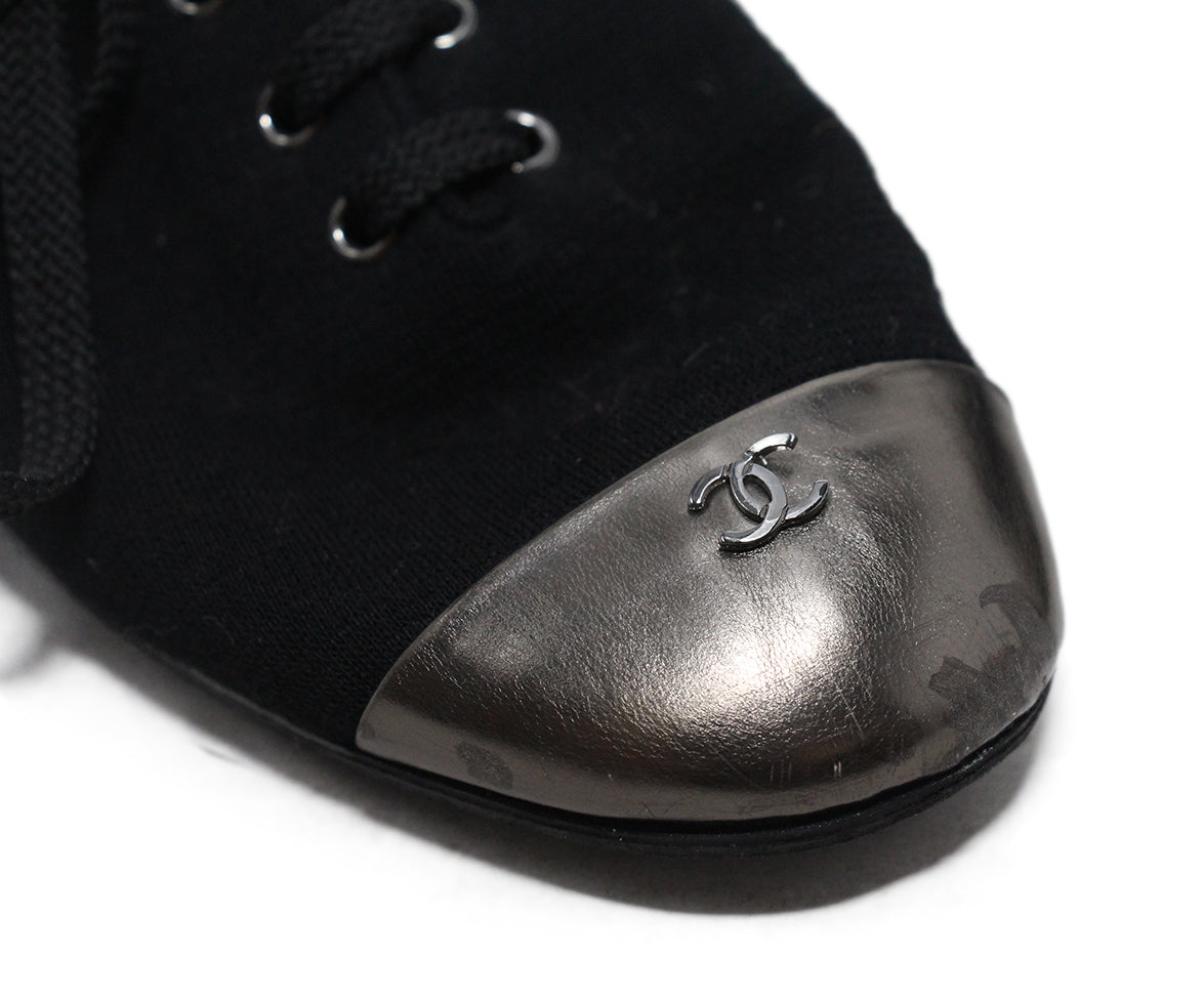 Chanel black canvas metallic trim flats 7