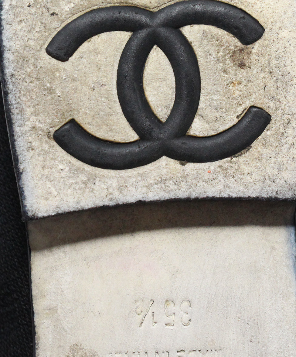Chanel black canvas metallic trim flats 6
