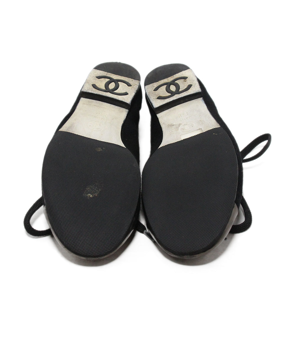 Chanel black canvas metallic trim flats 5