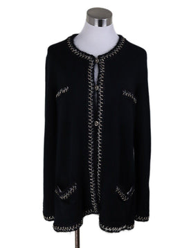 Chanel Black Cashmere Chain Gold Logo Buttons Sweater 1