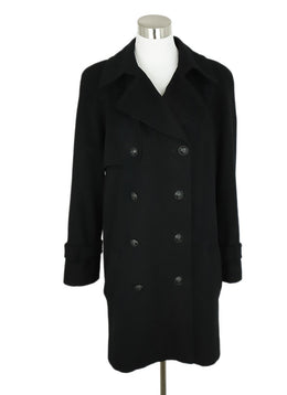 Coat Short Chanel Size 10 Black Cashmere Outerwear 1