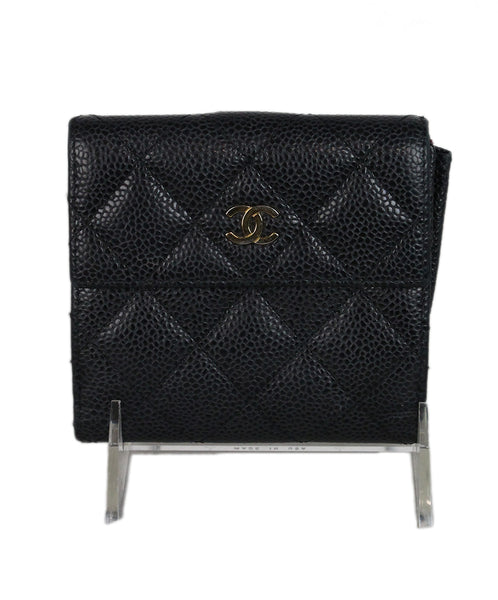 Chanel black caviar leather wallet 1