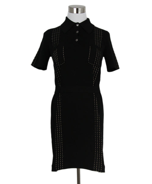 Chanel Black Cotton Beige Stitching Dress 1
