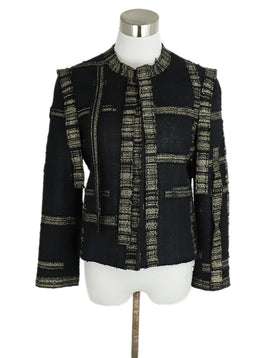 Chanel Black Gold Cotton Silk Lurex Stripes Jacket 1