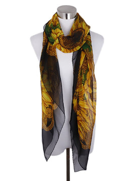 Chanel Black Gold Silk Sunflowers Scarf 1