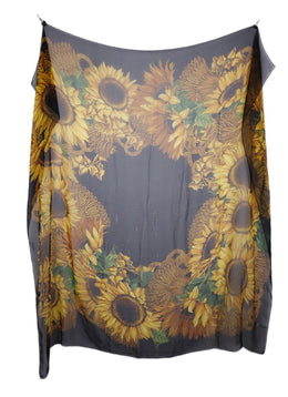 Chanel Black Gold Silk Sunflowers Scarf 2