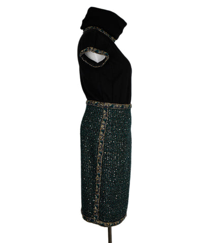 Chanel Black Green Gold Lurex Dress 1