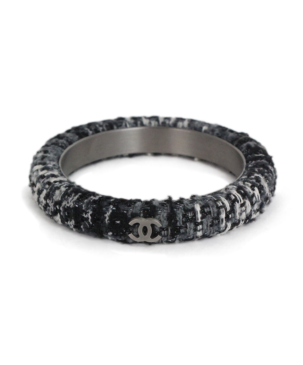 Chanel black grey white tweed bracelet 1