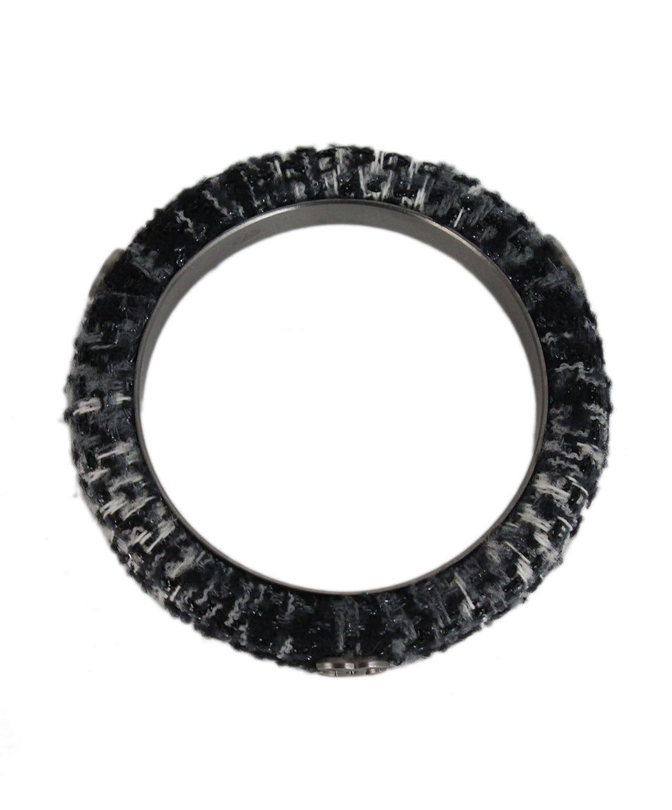 Chanel black grey white tweed bracelet 2