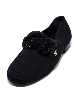 Chanel Black Grossgrain Crystal Detail Flats 1