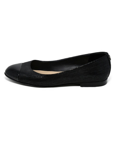 Chanel Black Iridescent Suede Patent Trim Flats 1