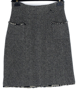 Chanel Black Ivory Wool Skirt 1