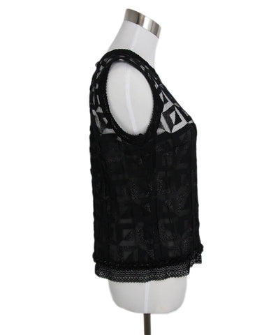 Chanel Black Lace Mesh Beaded Top 1