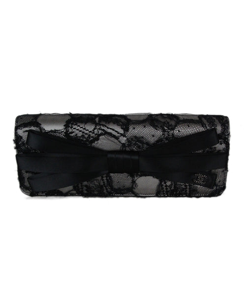 Chanel Black Lace Ribbon Clutch Handbag 1
