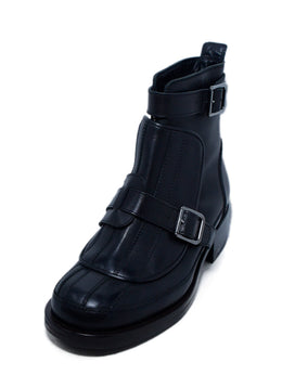 Chanel Black Leather Buckle Detail Booties 1