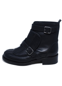 Chanel Black Leather Buckle Detail Booties 2
