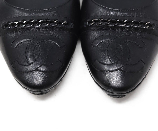 Chanel Black Leather Chain Trim Flats 5