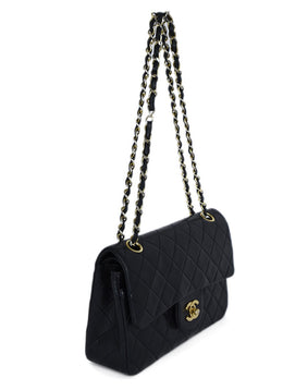 Chanel Black Quilted Leather Classic Flap Shoulder Bag 2