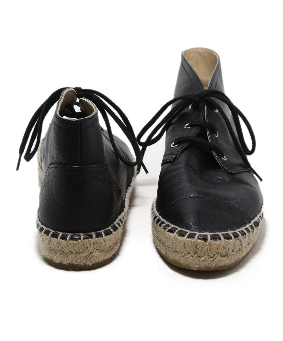 Chanel black leather espadrilles 3