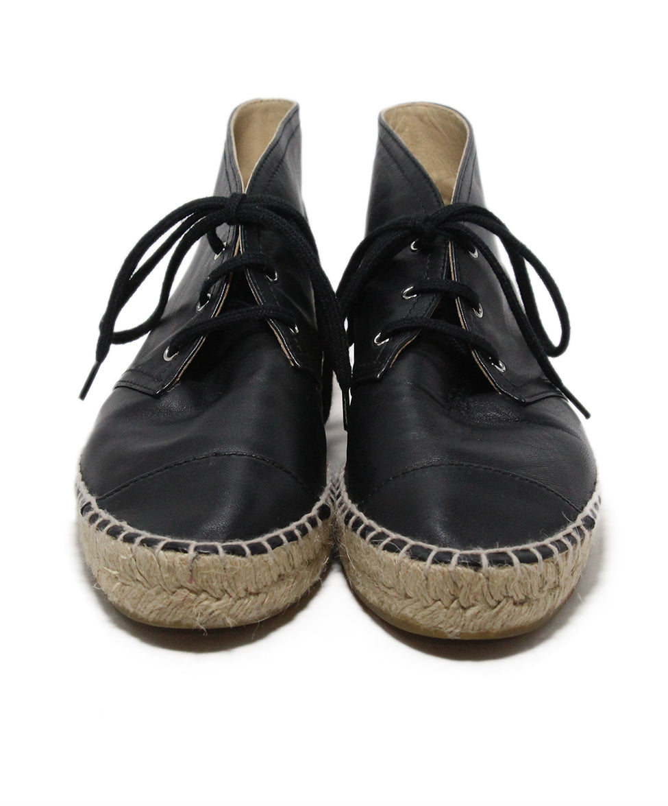 Chanel black leather espadrilles 4