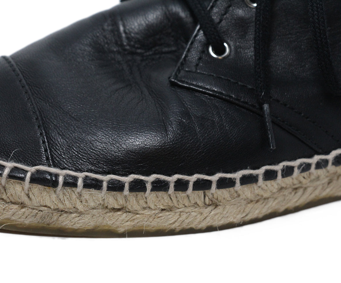 Chanel black leather espadrilles 7